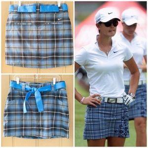 Nike Golf Skirt Blue Plaid Skirt +Shorts 8 Dri Fit